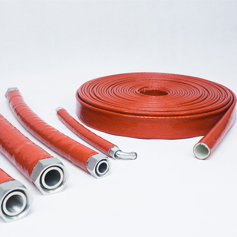 Glass fibre braided silicone rubber hose protector sleeve
